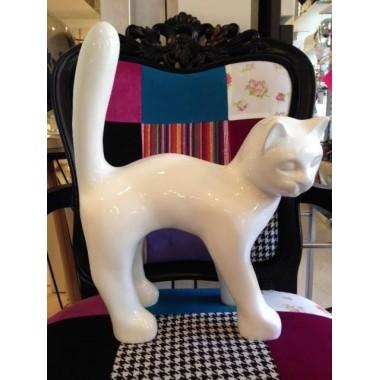Statue chat blanc laqué