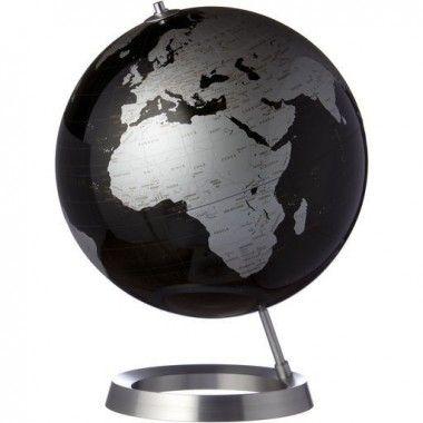Globe terrestre design noir argent sur socle alu