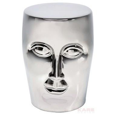 Tabouret design visage chromé