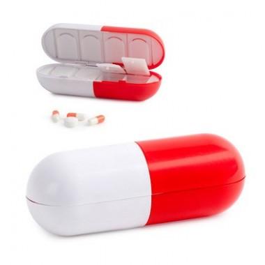 Pilulier Super Pill blanc et rouge