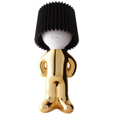 Lampe design MR. P One man shy dorée abât jour noir