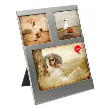 CADRE 3 PHOTOS GRIS 10 X 15 CM DIJON BALVI