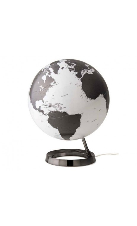 achetez votre globe terrestre lumineux design blanc noir sur socle. Black Bedroom Furniture Sets. Home Design Ideas