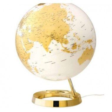 Globe terrestre lumineux design blanc or sur socle doré