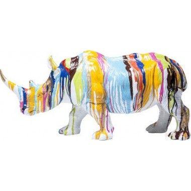 Statue Déco Rhinocéros multicouleur