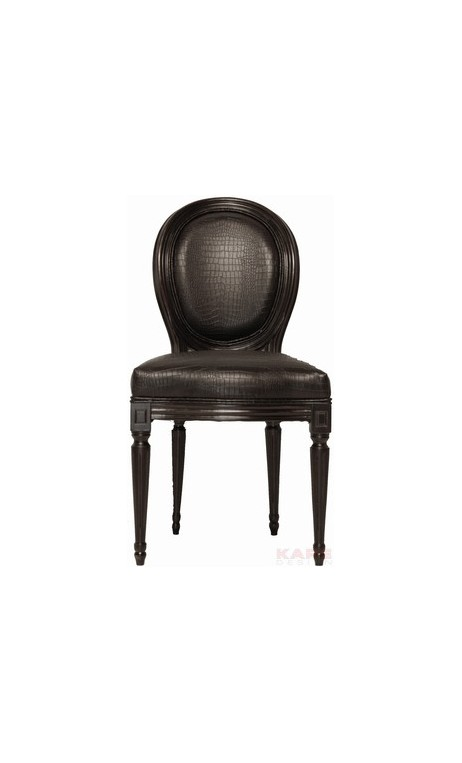 Chaise Louis noire croco antique