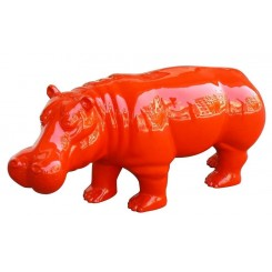 Statue hippopotame rouge
