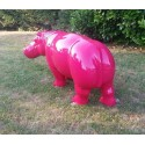Statue Hippopotame fuchsia grand modèle
