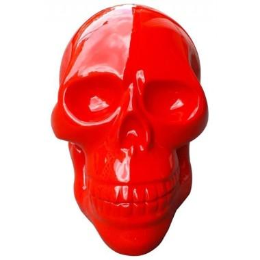Tête de mort géante en résine rouge brillant