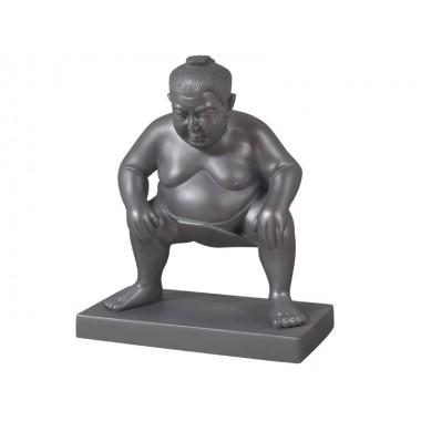 Statue Sumo décoratif gris argent 70 cm