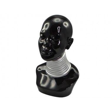 Buste Africaine décoratif noir argent