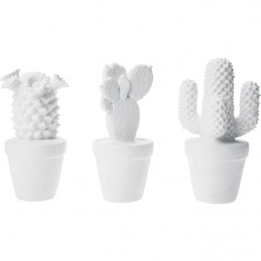 Cactus déco blanc mat