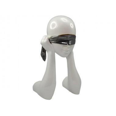 Statue visage blanc les yeux bandés noir