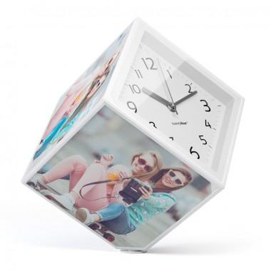 Horloge cadre photos cube rotatif 15 x 15