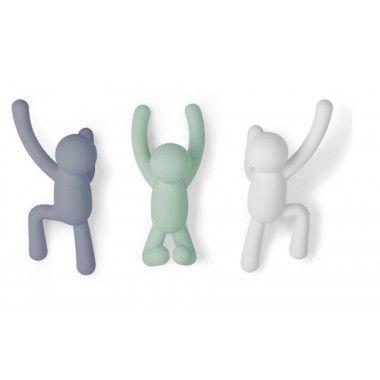 Set de 3 crochets muraux Buddy Pastel
