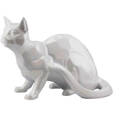 Chat décoratif blanc assis