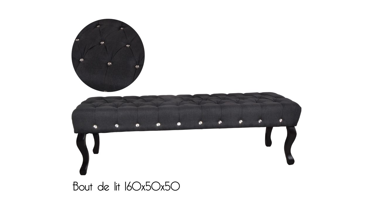achetez votre banc bout de lit castel noir strass pas cher. Black Bedroom Furniture Sets. Home Design Ideas
