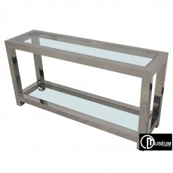 Console BOSTON chrome et verre