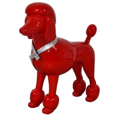 Chien Caniche rouge brillant décoratif