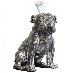 Tirelire Bouledogue assis silver 26 cm