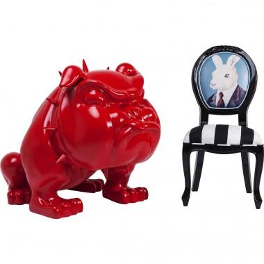 Chien Bull Dog XL Gangster rouge géant décoratif
