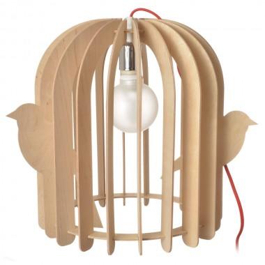 Lampe cage à oiseaux bois