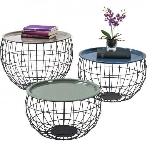 Set de 3 tables basses multicolores en acier La Costa Wire