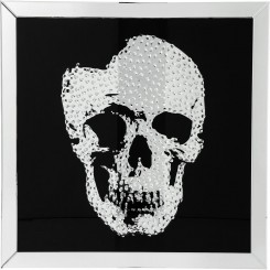Tableau noir effet miroir tête de mort Skull