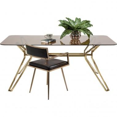 Table à manger rectangle en verre 180 Garbo Gold
