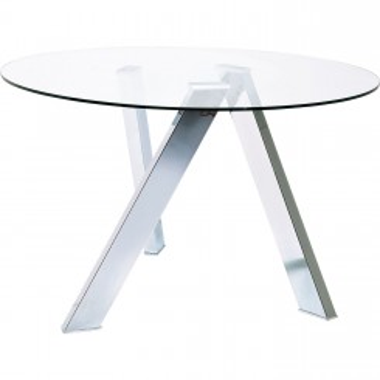 Table à manger ronde chrome 120 Mikado
