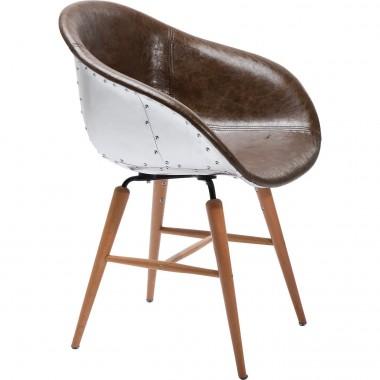 Chaise cuir marron et alluminium avec accoudoirs Forum