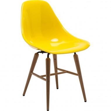 Chaise au design rétro blanc et bois Forum