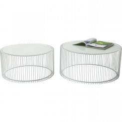 Set de 2 tables basses blanches Wire