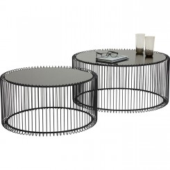 Set de 2 tables basses noires Wire