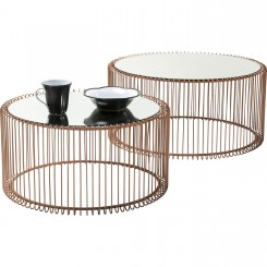 Set de 2 tables basses cuivre Wire