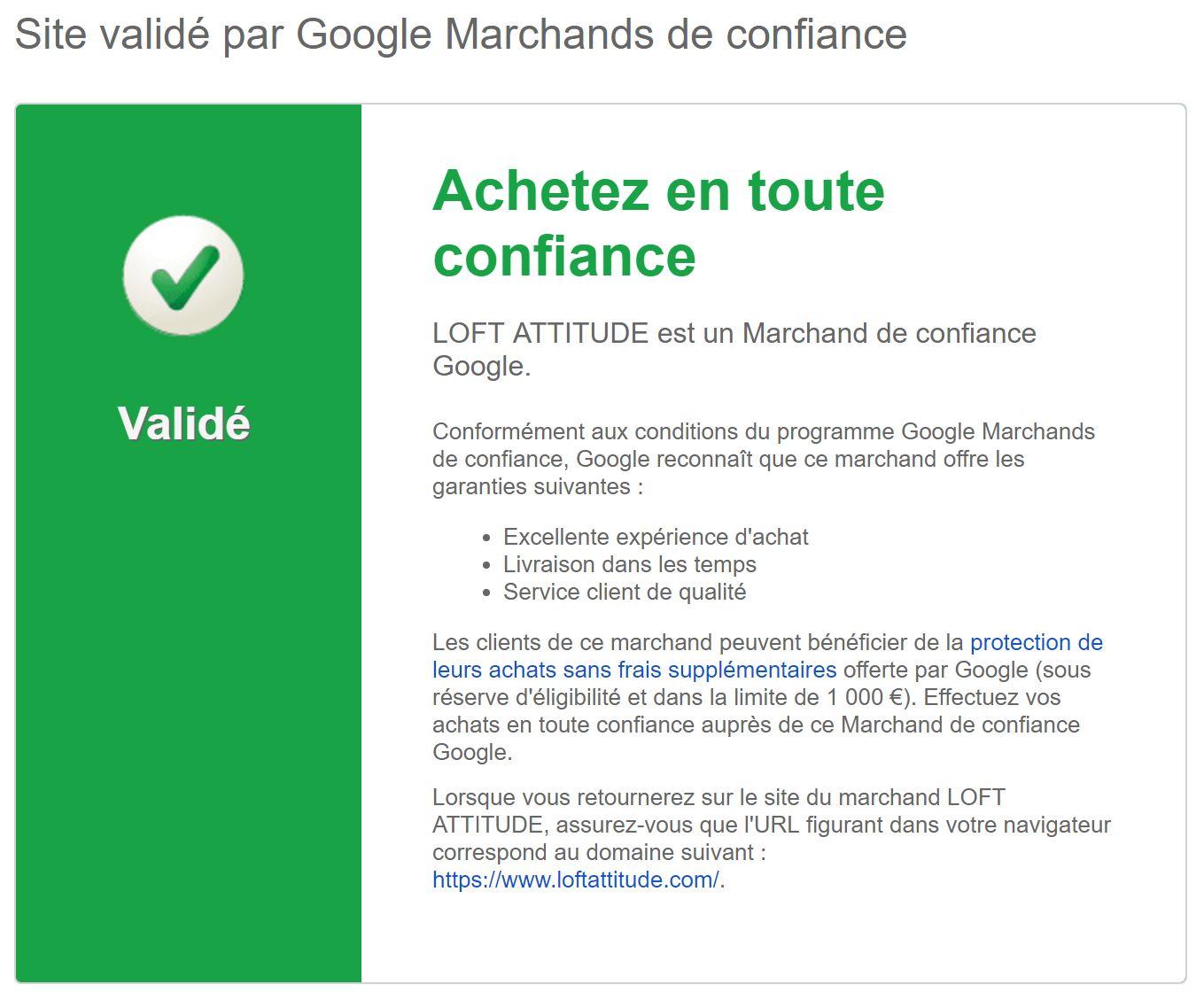 Loft Attitude marchand de confiance Google